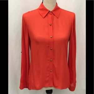Alice and Olivia Orange Flair Back Button Shirt XS